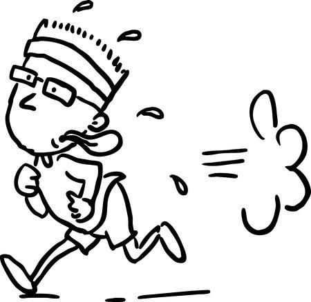 tired man: running man - black line vector illustration Illustration