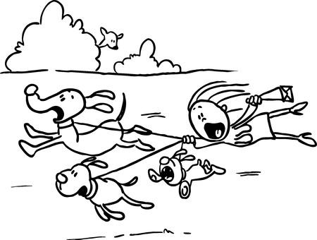 runaway: El perro fugitivo a dar un paseo, la mujer detr�s de ellos revolotea - l�nea negro ilustraci�n vectorial