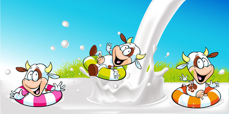 cow cartoon: vector design with funny cow swimming in milk splash