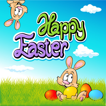 peep: happy easter text- design with bunny, eggs and spring background Illustration