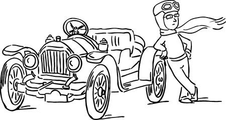 relies: man relies on his car, veteran - black line vector illustration