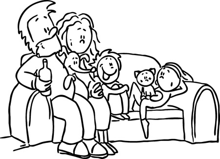 black family: family sitting in the seat - black line vector illustration