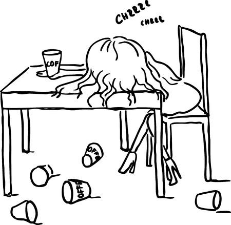 woman sleep: woman sleep with coffee on table - black line vector illustration