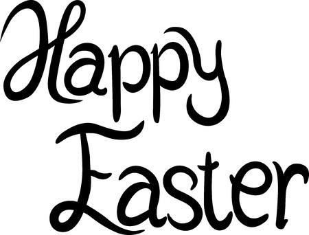 title hands: Happy Easter - calligraphy text