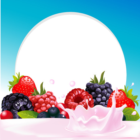 berry fruit: vector frame with wild berry fruit and milk or yogurt splash