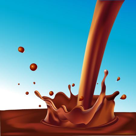 뜨거운 커피 또는 파란색 배경 - 벡터 일러스트 레이 션에 가벼운 초콜릿의 스플래시