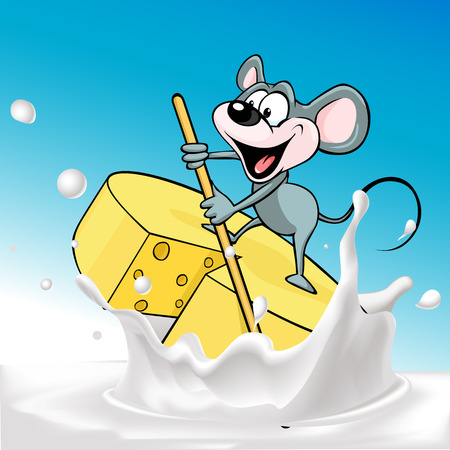 raft: Mouse sails on raft cheese - vector illustration