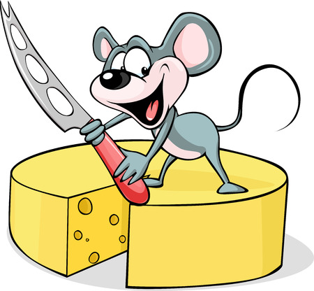 cheese knife: mouse holding a cheese knife - vector illustration  isolated on white background