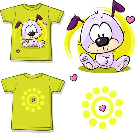 schattige puppy gedrukt op overhemd