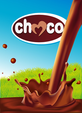 chocolate design with pouring splash of chocolate, green grass and blue background