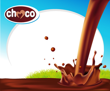 chocolate splash: vector design frame with chocolate splash and green grass Illustration