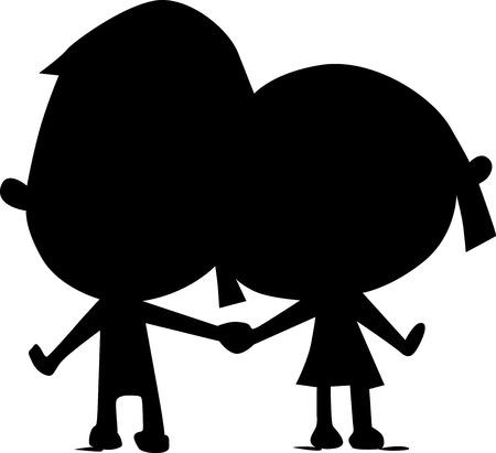 siluetas de enamorados: amantes silueta asimiento de la mano - ilustración vectorial