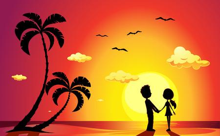 Amantes en una playa al atardecer - ilustración vectorial Foto de archivo - 39269345