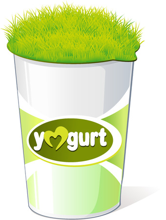 plastic container: plastic container for yogurt  with green grass - vector