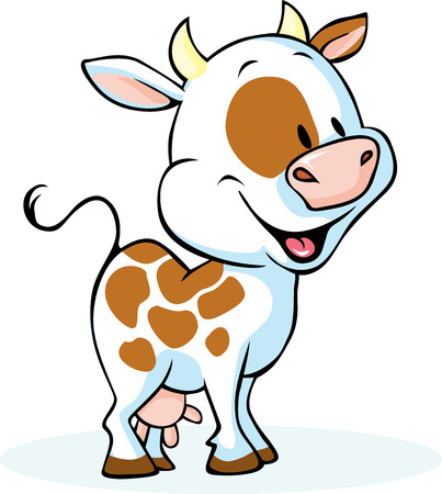calves: funny cow cartoon standing and smiling - vector illustration