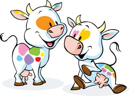 schattige kleurrijke koe op een witte achtergrond