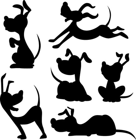 funny dog silhouette - vector illustration