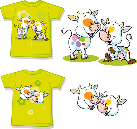 green cute: shirt with cute cow cartoon - vector illustration