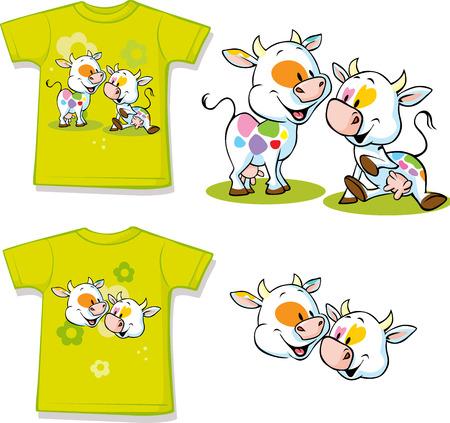 farm animal: shirt with cute cow cartoon - vector illustration