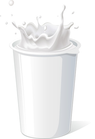 plastic container: plastic container for yogurt with splash - vector Illustration