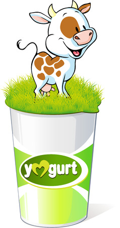 dipping: plastic container for yogurt  with funny cow - vector