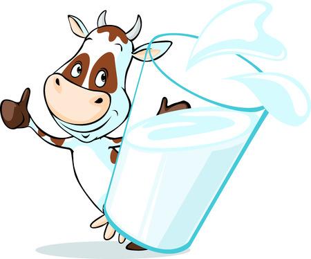 우유의 유리 뒤에 귀여운 소가 - 흰색 배경에 고립