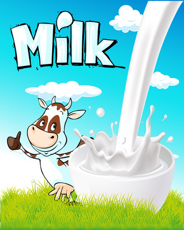 cow cartoon: cute design with milk splash, cow and nature Illustration