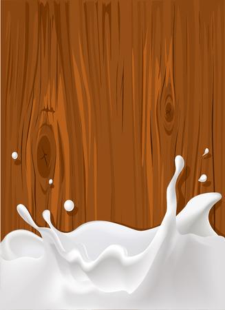 ベクトルの背景の木のテクスチャでミルクのスプラッシュ