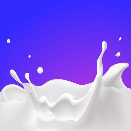 milk drop: vector splash of milk - illustration with violet background Illustration