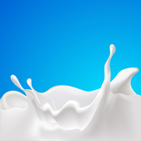 milk splash: vector splash of milk - design with blue background