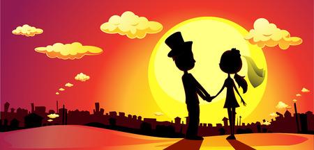 back view man: wedding silhouette in sunset - vector horizontal illustration Illustration
