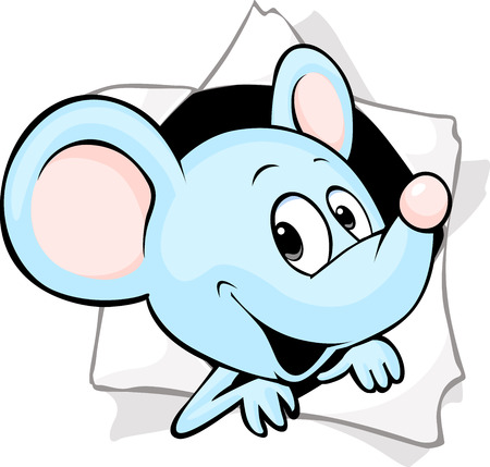 peering: mouse peering out of a hole in a paper