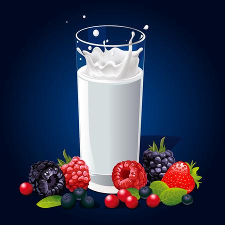 vaso de leche: vaso de leche con el chapoteo y frutas sobre fondo oscuro