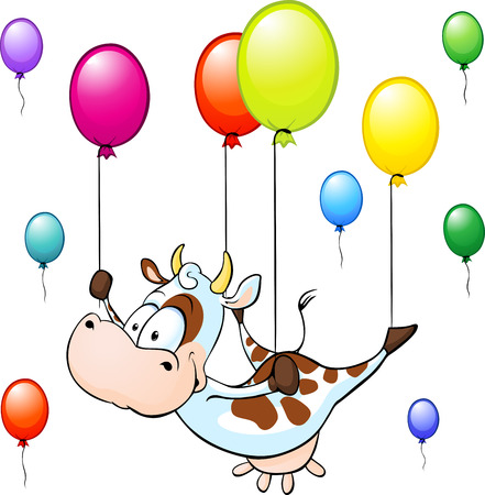 calf cow: funny cow flying with colorful balloon isolated on white background