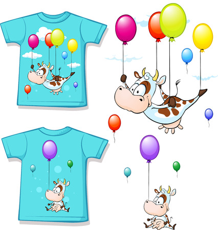 balloon vector: shirt with funny printed cow flying with balloon - vector illustration