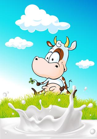 leche: vaca linda que se sienta en la hierba verde con el chapoteo de la leche - ilustración vectorial