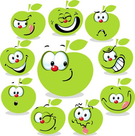 manzana caricatura: icono de la manzana de la historieta con las caras divertidas aisladas en blanco Vectores