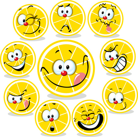 funny faces: lemon icon cartoon with funny faces isolated on white Illustration