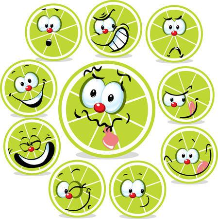 funny faces: lime icon cartoon with funny faces isolated on white Illustration