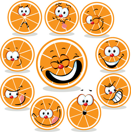 funny faces: orange  icon cartoon with funny faces isolated on white