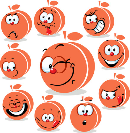 apricot: peach or apricot  icon cartoon with funny faces isolated on white Illustration