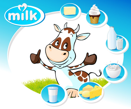 dairy products: blue design with dairy products and funny cow - vector illustration