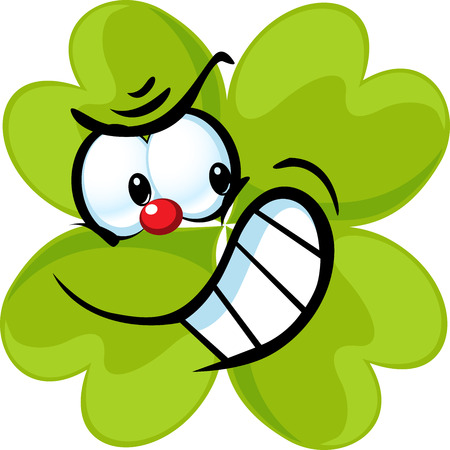 clover face: angry green cloverleaf - funny vector illustration isolated on white background Illustration