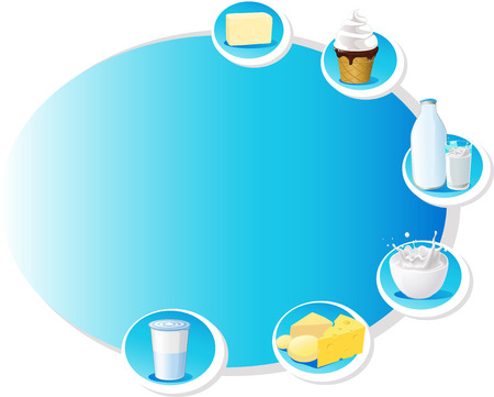 dairy products: blue design frame with dairy products - vector illustration