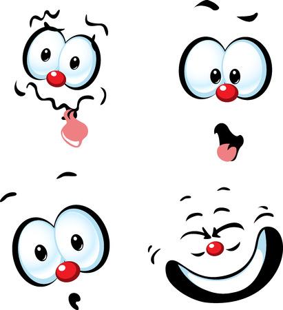 funny face: funny vector cartoon face - grin Illustration