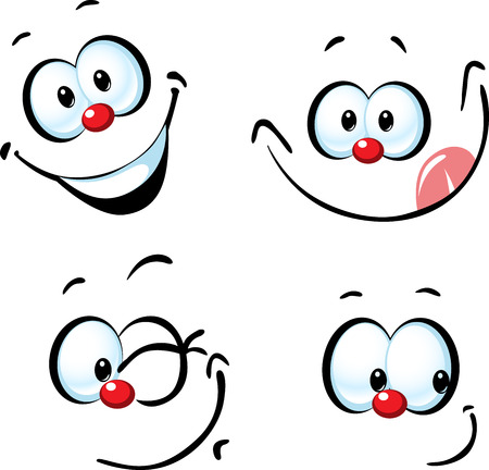 cara divertida de la historieta del vector - sonriendo