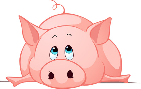 lay down: big fat pig lay down - vector illustration