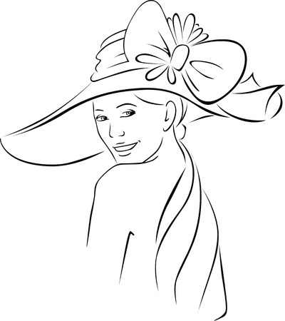 tender: young woman with hat - black outline vector illustration Illustration