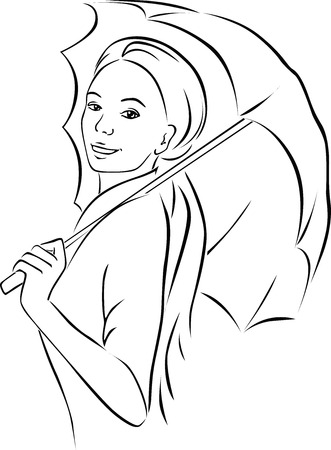 sexy woman: young woman with parasol - black outline vector illustration