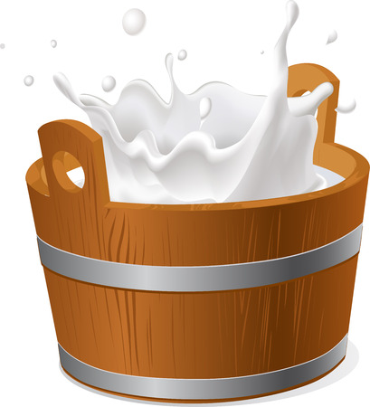 milk pail: wooden bucket with milk splash isolated on white  - vector illustration